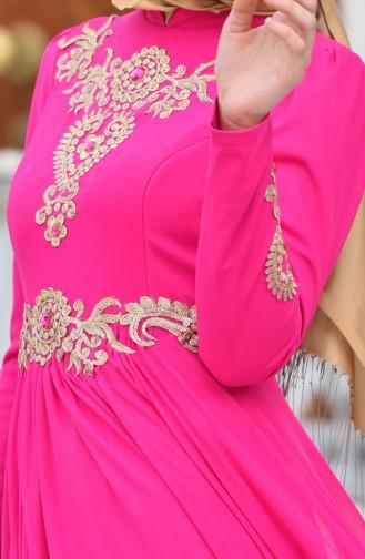 Robe de Soirée Bordée Perlée 1010-01 Fushia 1010-01