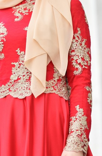 Red Islamic Clothing Evening Dress 7838A-03