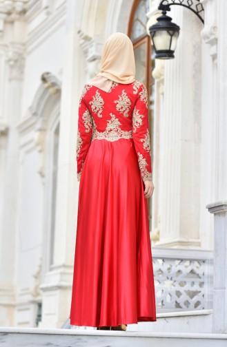 Red İslamitische Avondjurk 7838A-03