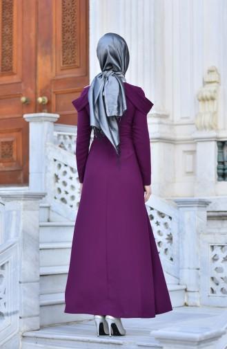 فساتين سهرة بتصميم اسلامي ارجواني داكن 0590-03