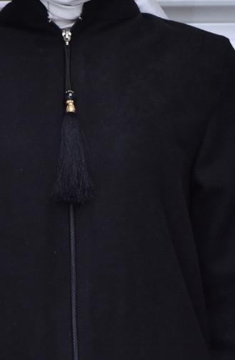 Fermuarlı Kaban 1013-01 Siyah