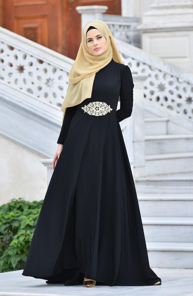 1e60179ef3e54 Hakim Yaka Taşlı Abiye Elbise 1008-02 Siyah