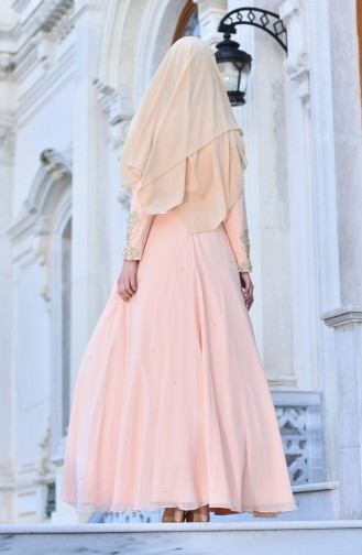 Pearls Chiffon Evening Dress 1008-01 Salmon 1008-01