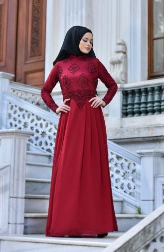 İncilli Dantelli Abiye Elbise 9570-02 Bordo