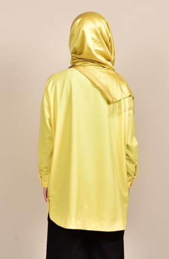 Langes Hemd mit Knöpfen Detail  6040-01 Gelb 6040-01