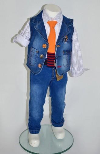 Erkek Çocuk Yelekli Takım 1627-01 Taba