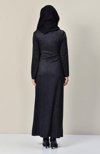 Leder Patchwork Kleid mit Halskette  9211-06 Rauchgrau 9211-06