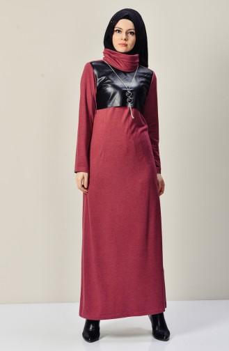 Robe Cuir Garnie avec Collier 9211-02 Rose Pâle 9211-02