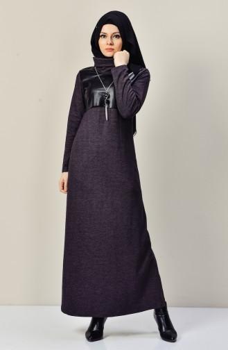 Lederpachtwork  Kleid mit Halskette  9211-03 Lila 9211-03