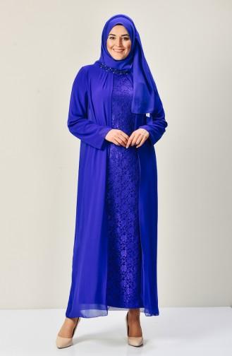 Robe a Dentelle en Mousseline Grande Taille 5920-03 Bleu Roi 5920-03