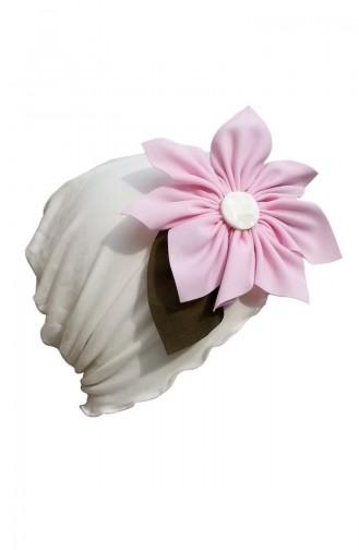 قبعة بتصميم مطرز لون زهري مع اوف وايت  49