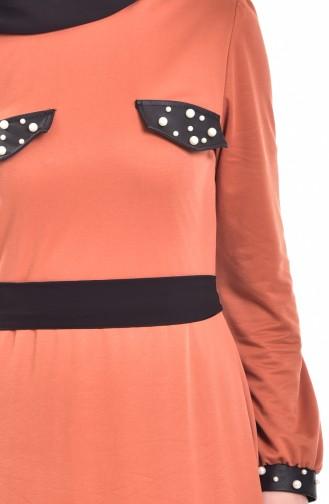 Kleid mit Perlen  1004-02 Orange  1004-02
