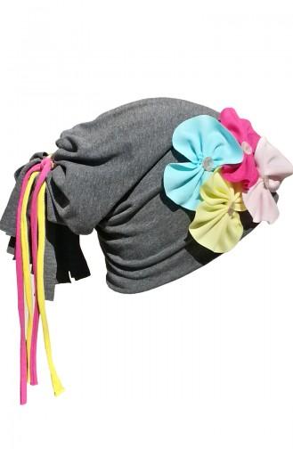 Düğmeli Çiçekli Şapka NS32 Gri