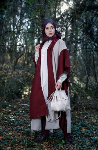Asymmetric Cut Poncho 3141-04 Mink Claret Red 3141-04