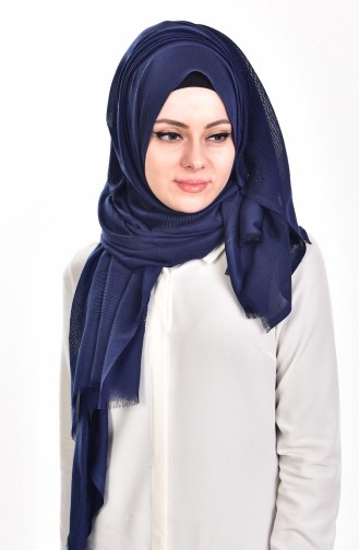 Net Detailed Shawl 19033-17 Navy Blue 17