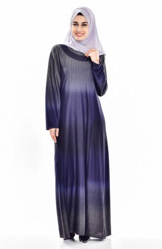 Navy Blue İslamitische Jurk 9001-02
