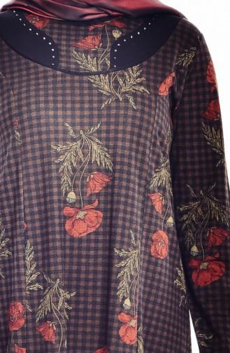 Büyük Beden Desenli Elbise 4848C-04 Kahverengi 4848C-04