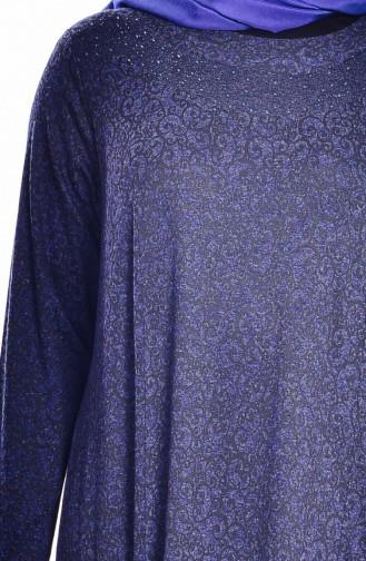 Robe avec Pierre Grande Taille 4426-04 Bleu Roi 4426-04