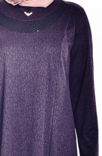 Übergröße Kleid mit Jacquard 4424A-04 Lila  4424A-04