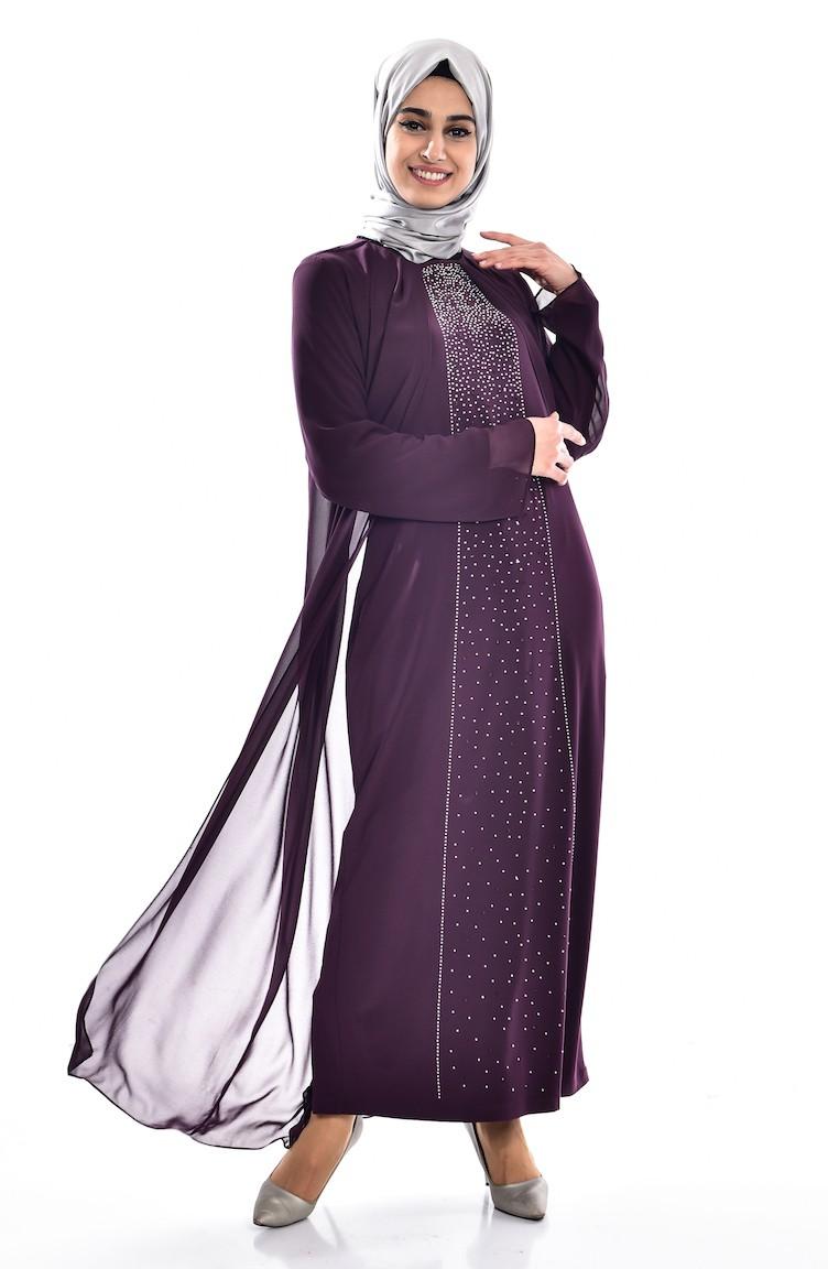 5442bf9853c16 Purple Islamic Clothing Evening Dress 5919-05
