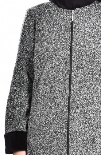 Fermuarlı Kol Ucu Peluş Kap 1482-01 Siyah Beyaz