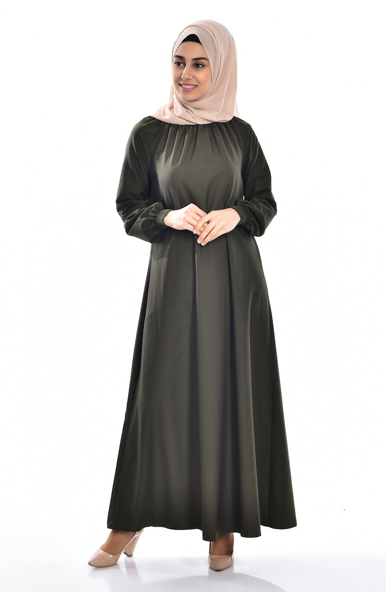 2ad130d79b1c0 Kolu Lastikli Elbise 0021-11 Haki Yeşil