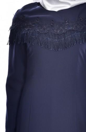 Robe a Dentelle et Franges 7537-03 Bleu Marine 7537-03