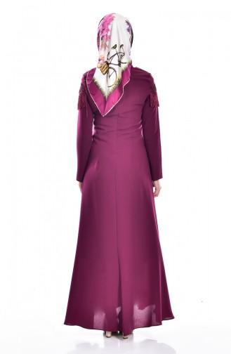 Kleid mit Fransen  7537-06 Zwetschge 7537-06