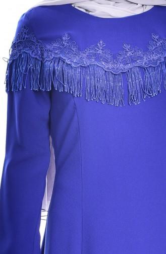 Robe a Dentelle et Franges 7537-04 Bleu Roi 7537-04