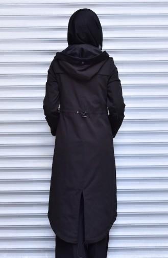 Trench Coat a Fermeture et Capuche 35767-03 Noir 35767-03