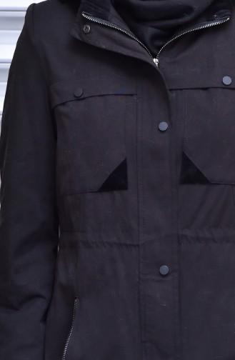 Trenchcoat mit  Reißverschluss 35767-03 Schwarz 35767-03
