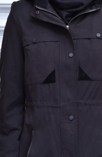 Kapüşonlu Fermuarlı Trençkot 35767-03 Siyah