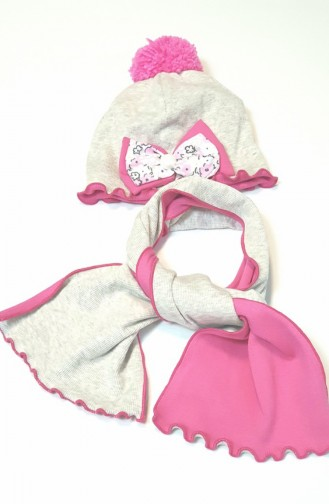 Hat Scarf Set NSA007 Light Beige Pink 007