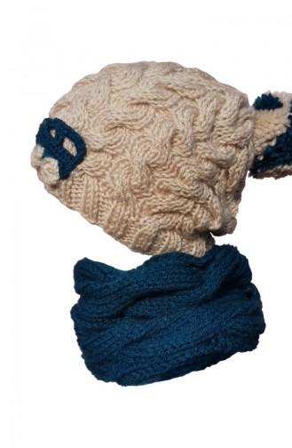 El Örgüsü Şapka Boyunluk NY02 Bej Petrol Mavi