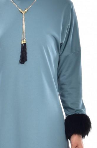 Yarasa Kol Kürklü Uzun Tunik 4135-08 Mint Yeşil