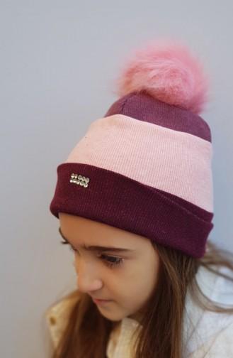 Pamuklu Şapka NS155 Bordo Pudra