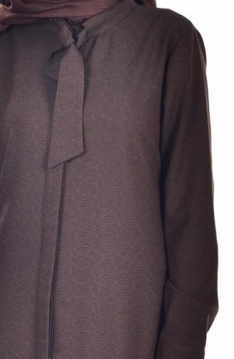 Langes Tunika mit Krawattenkragen  7002-02 Senf 7002-02