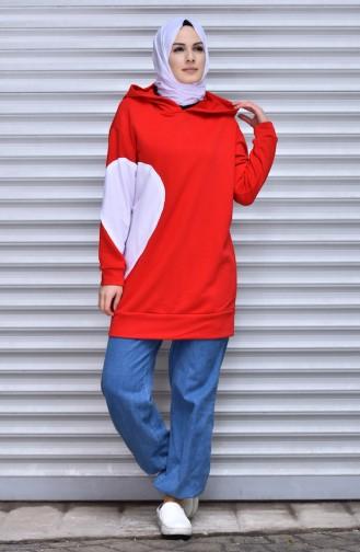 Kapüşonlu Sweatshirt 12007-01 Kırmızı