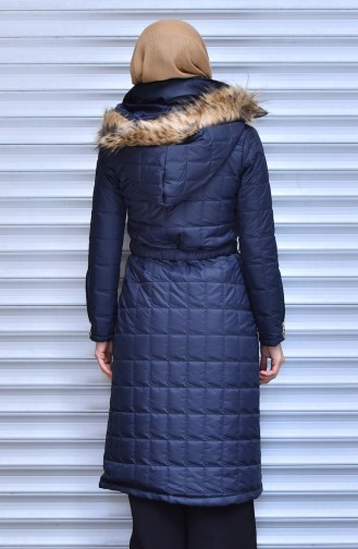 SUKRAN Hooded Quilted Coat 0130-02 Navy Blue 0130-02