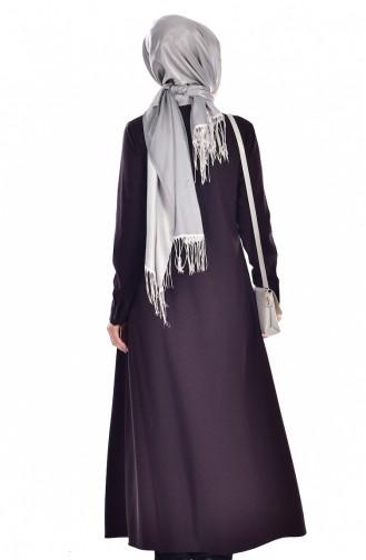 Kravat Yakalı Uzun Tunik 7002-01 Mürdüm