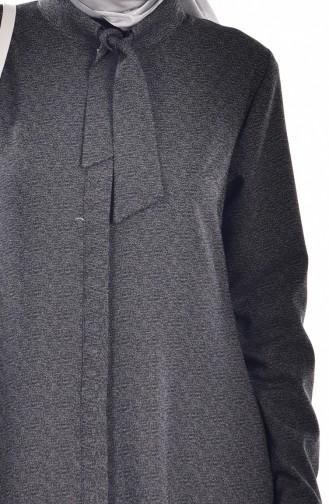 Kravat Yakalı Uzun Tunik 7002-03 Siyah