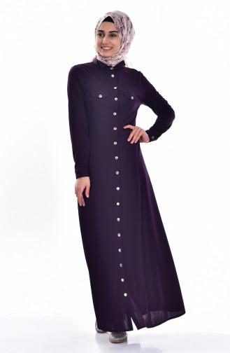Gömlek Yakalı Elbise 3431-03 Mor