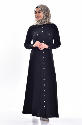 Gömlek Yakalı Elbise 3431-01 Siyah
