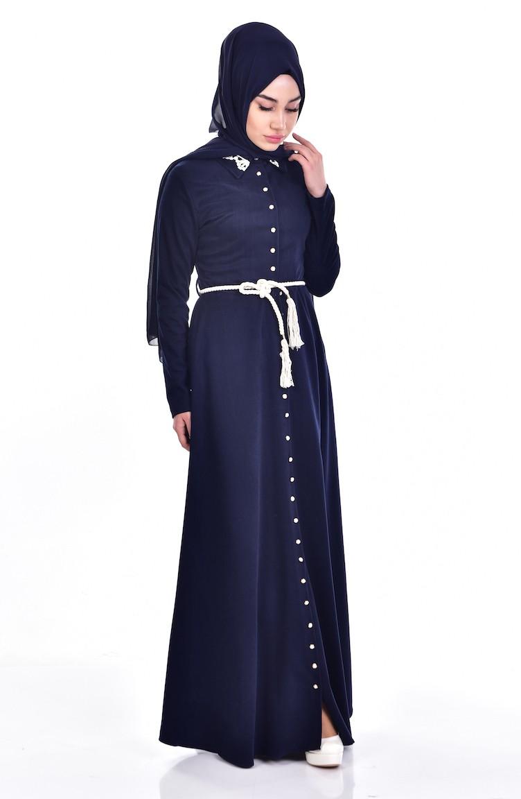 f182c7258bd71 Gömlek Yaka Düğmeli Elbise 0014-01 Lacivert