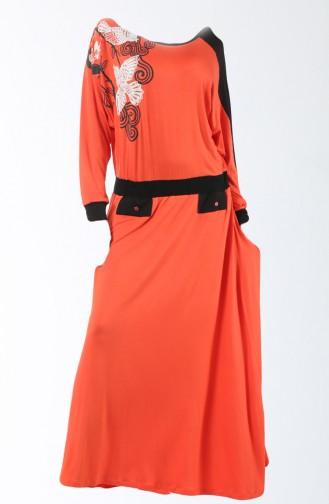 فستان للمنزل بتصميم مطبع  8129-01