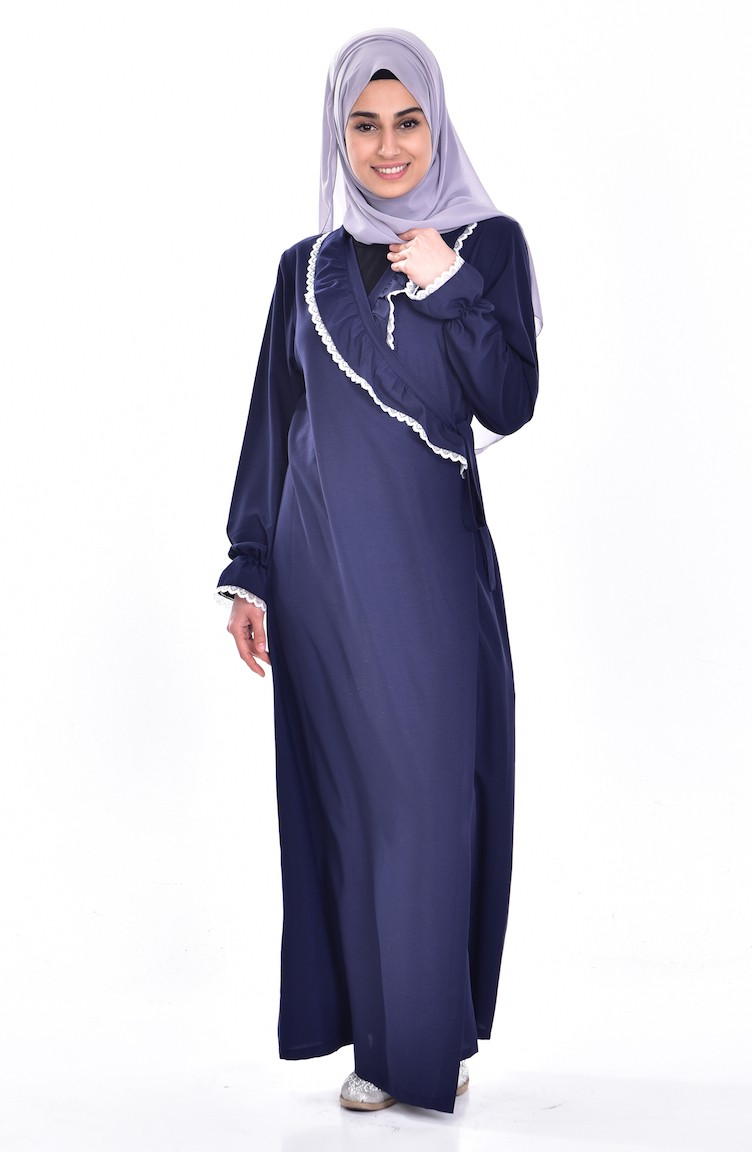 28275858828 Robe de Prière a Dentelle 1004-01 Bleu Marine 1004-01