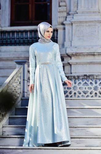 فستان بتصميم مُرقط يتميز بحزام مرصع لامع 5497-03