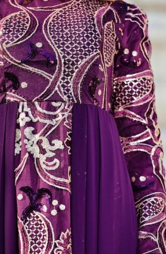 Abendkleid mit Pailetten 7622-02 Lila 7622-02