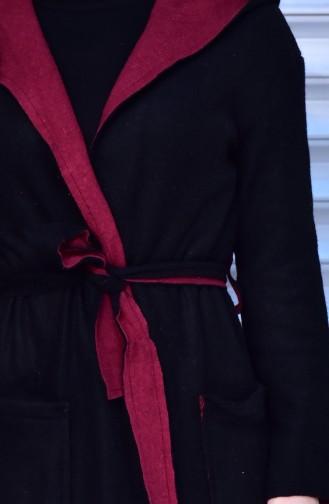 Kapüşonlu Kuşaklı Hırka 41027-01 Siyah Bordo