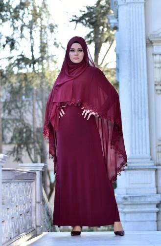 Claret red İslamitische Avondjurk 4476-01